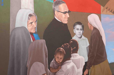 Slain Archbishop Oscar Romero is memorialized in a mural, part of which is shown here at the international airport in El Salvador. The Vatican is likely to declare the martyr a Catholic saint.