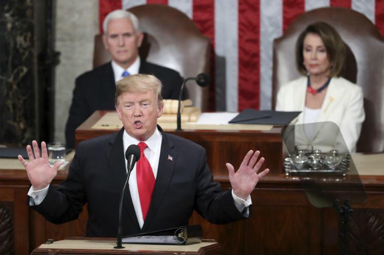 El presidente Donald Trump pronuncia su discurso sobre el Estado de la Unión en sesión conjunta del Congreso en el Capitolio de Washington el martes 5 de febrero de 2019.