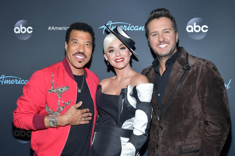 """Lionel Richie, Katy Perry and Luke Bryan attend ABC's """"American Idol"""" Finale on May 19, 2019 in Los Angeles, California."""