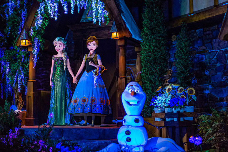 """Located in the Norway Pavilion at Epcot, Frozen Ever After celebrates a """"Summer Snow Day"""" on a journey through a frozen willow forest, past Troll Valley and up to Queen Elsa's palace high up on the north mountain."""