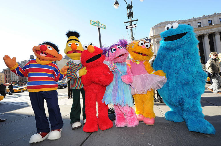 Sesame Street characters Ernie, Bert, Elmo, Abby Cadabby, Zoe and Cookie Monster attend the temporary street renaming to celebrate the 30th anniversary of Sesame Street Live on 31st Street & 8th Avenue on February 4, 2010 in New York City.