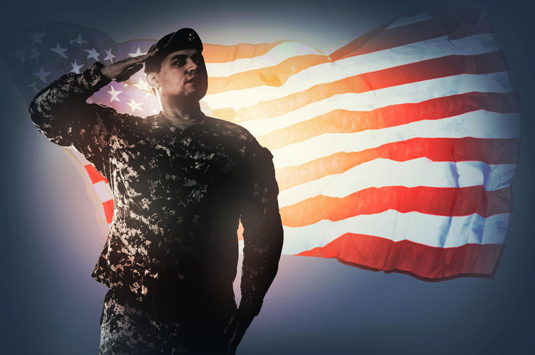 Army Ranger salutes flag