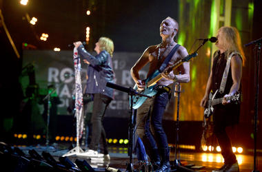 Inductees Joe Elliott, Phil Collen and Rick Savage of Def Leppard perform at the 2019 Rock & Roll Hall Of Fame Induction Ceremony