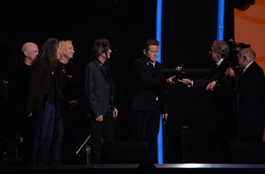 Don Henley, Joe Walsh and other members of the Eagles after a tribute to Glenn Frey was performed during the 58th Grammy Awards