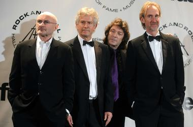 Inductees Phil Collins, Tony Banks, Steve Hackett and Mike Rutherford of Genesis at the 25th Annual Rock And Roll Hall Of Fame Induction Ceremony