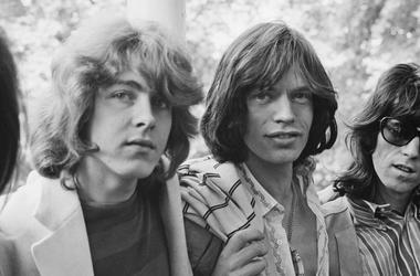 The Rolling Stones in Hyde Park, London, UK, 13th June 1969; (L-R) Mick Taylor, Mick Jagger, Keith Richards.
