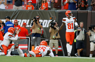 Rashard Higgins #81 of the Cleveland Browns celebrates after scoring a touchdown during the first quarter of the game against the Washington Redskins at FirstEnergy Stadium on August 8, 2019 in Cleveland, Ohio.
