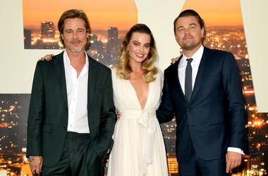 "Brad Pitt, Margot Robbie and Leonardo DiCaprio arrive at the premiere of Sony Pictures' ""One Upon A Time...In Hollywood"" at the Chinese Theatre on July 22, 2019 in Hollywood, California."