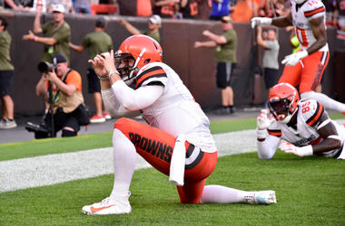 quarterback Baker Mayfield #6 of the Cleveland Browns celebrates after a touchdown during the first half of a preseason game against the Washington Redskins at FirstEnergy Stadium on August 08, 2019 in Cleveland, Ohio.