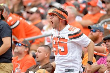 A Cleveland Browns fan yells at the field during the second half against the Tennessee Titans