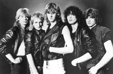 Promotional portrait of the British rock band Def Leppard, circa 1985. L-R: Steve Clark, Rick Savage, Joe Elliott, Pete Willis, Rick Allen.
