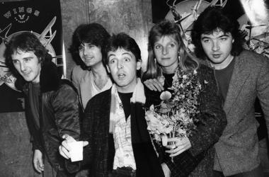 Wings, the pop group formed by ex-Beatle, Paul McCartney are in Liverpool. They are L-R: Denny Laine, Steve Holly, Paul McCartney, Linda McCartney (1941 - 1998), and Laurence Juber.