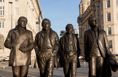 Statue of The Beatles by sculptor Andy Edwards is unveiled at Pier Head