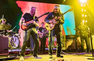 Musicians Joe Walsh of The Eagles (L) and Glenn Schwartz perform onstage during 2016 Coachella Valley Music And Arts Festival at the Empire Polo Field on April 16 2016 in Indio, California.