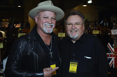 Ted Nujent Band/Whitford St.Holmes Band and Ed King - Founding member Lynyrd Skynyrd Hall of Fame 2006 attend 2017 Amigo Nashville Guitar Show at Liberty Hall in The Factory on March 18, 2017 in Franklin, Tennessee