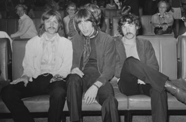 Roger Waters, and Nick Mason of rock group Pink Floyd at Heathrow Airport before leaving for a 22-date US tour, London, UK, July 1968.