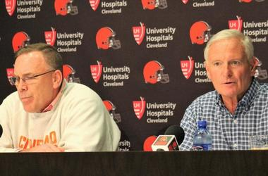 Browns general manager John Dorsey (L) and owner Jimmy Haslam (R) address the firing of head coach Hue Jackson and offensive coordinator Todd Haley
