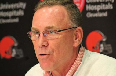 Browns GM John Dorsey speaks with reporters on Oct. 29, 2018 after the firing of head coach Hue Jackson and offensive coordinator Todd Haley