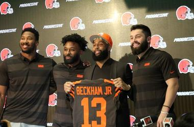 (L to R) Myles Garrett, Jarvis Landry, Odell Beckham Jr. and Baker Mayfield on April 1, 2019