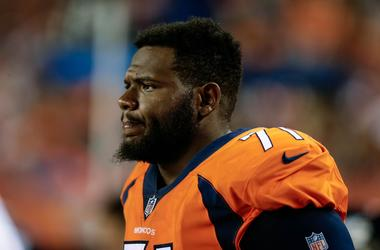 Denver Broncos offensive tackle Donald Stephenson (71) in the third quarter against the Arizona Cardinals at Sports Authority Field at Mile High.