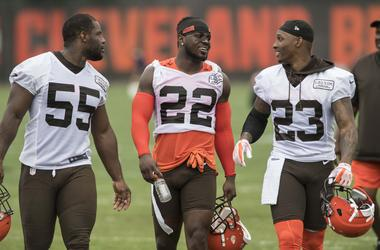 Cleveland Browns linebacker Genard Avery (55) and defensive back Jabrill Peppers (22) and defensive back Damarious Randall (23) leave the field after minicamp at the Cleveland Browns training facility.