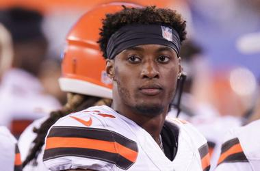 Cleveland Browns cornerback Denzel Ward (21) looks on during the second half against the New York Giants at MetLife Stadium.