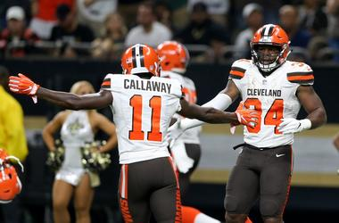 Cleveland Browns running back Carlos Hyde (34) celebrates with wide receiver Antonio Callaway (11) after scoring a touchdown in the second half against the New Orleans Saints at Mercedes-Benz Superdome