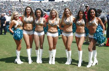 Sep 23, 2018; Jacksonville, FL, USA; Jacksonville Jaguars cheerleaders stand for a photo during a game between the Jacksonville Jaguars and the Tennessee Titans at TIAA Bank Field.