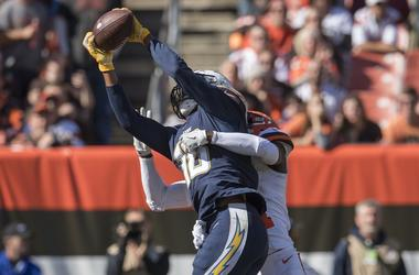 Los Angeles Chargers wide receiver Tyrell Williams (16) catches a touchdown as Cleveland Browns cornerback Denzel Ward (21) defends during the first half at FirstEnergy Stadium.