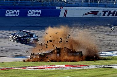 NASCAR Cup Series driver Jamie Mcmurray (1) wrecks during the 1000Bulbs.com at Talladega Superspeedway.