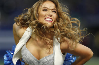 Indianapolis Colts cheerleader performs a dance routine in a game against the Buffalo Bills during the fourth quarter at Lucas Oil Stadium.