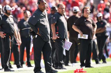 Cleveland Browns head coach Hue Jackson challenges a play in the second half against the Tampa Bay Buccaneers at Raymond James Stadium.
