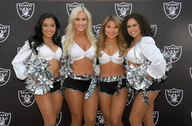 Oakland Raiders raiderette cheerleaders pose during the game against the Los Angeles Chargers at Oakland Coliseum.