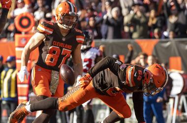 Cleveland Browns running back Duke Johnson (29) falls as he enters the end zone for a touchdown against the Atlanta Falcons during the fourth quarter at FirstEnergy Stadium.