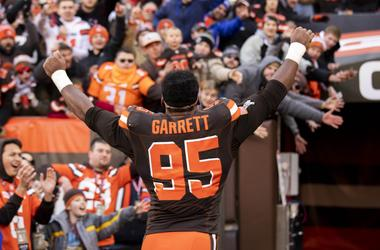 Cleveland Browns defensive end Myles Garrett (95) celebrates the team's win against the Atlanta Falcons on his way to the locker room after the game at FirstEnergy Stadium.