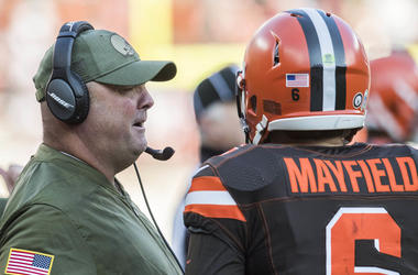 Nov 11, 2018; Cleveland, OH, USA; Cleveland Browns offensive coordinator Freddie Kitchens talks with quarterback Baker Mayfield (6) during the second half against the Atlanta Falcons at FirstEnergy Stadium. Mandatory Credit: Ken Blaze-USA TODAY Sports
