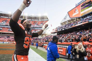 Cleveland Browns defensive end Myles Garrett (95) celebrates after the Cleveland Browns beat the Atlanta Falcons at FirstEnergy Stadium.