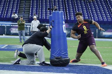 Ohio State defensive lineman Dre'Mont Jones (DL08) goes through workout drills during the 2019 NFL Combine at Lucas Oil Stadium.