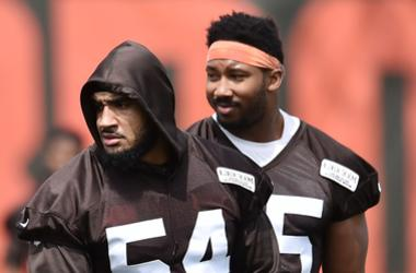 Cleveland Browns defensive end Olivier Vernon (54) and defensive end Myles Garrett (95) during organized team activities at the Cleveland Browns training facility.
