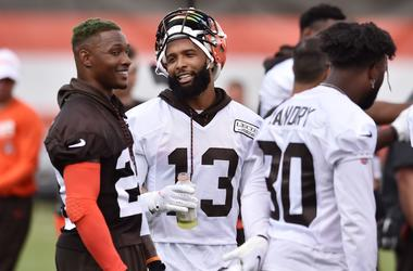 Cleveland Browns strong safety Damarious Randall (23) talks with wide receiver Odell Beckham (13) during training camp at the Cleveland Browns Training Complex.