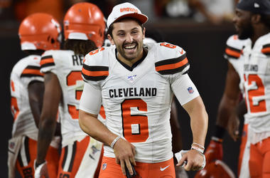 Cleveland Browns quarterback Baker Mayfield (6) celebrates after a punt return for a touchdown by wide receiver Damon Sheehy-Guiseppi (not pictured) during the second half against the Washington Redskins at FirstEnergy Stadium.