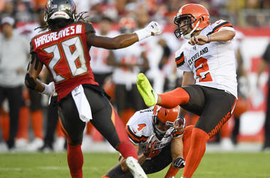 Cleveland Browns kicker Austin Seibert (2) kicks a field goal during the first quarter against the Tampa Bay Buccaneers at Raymond James Stadium.