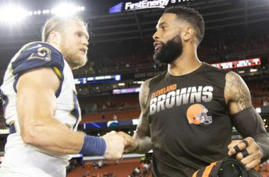 Los Angeles Rams outside linebacker Clay Matthews (52) shakes hands with Cleveland Browns wide receiver Odell Beckham Jr. (13) after the game at FirstEnergy Stadium. The Rams won 20-13.