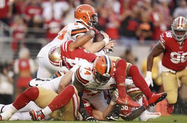 October 7, 2019; Santa Clara, CA, USA; San Francisco 49ers defensive back K'Waun Williams (24) sacks Cleveland Browns quarterback Baker Mayfield (6) during the first quarter at Levi s Stadium. Mandatory Credit: Kyle Tera