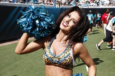 A Jacksonville Jaguars cheerleader performs during the second half against the New Orleans Saints at TIAA Bank Field.
