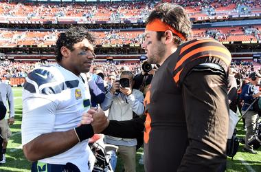 Seattle Seahawks quarterback Russell Wilson (3) and Cleveland Browns quarterback Baker Mayfield shake hands after the game between the Cleveland Browns and the Seattle Seahawks at FirstEnergy Stadium.