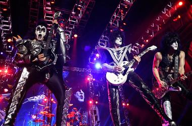 "Gene Simmons (L), Tommy Thayer (C), and Paul Stanley of the U.S. band ""Kiss"""