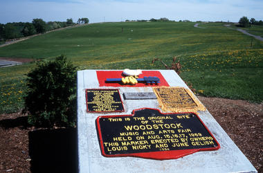 A monument marks the site where the original Woodstock Music and Arts Fair was held