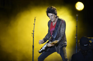Bass player of British band The Rolling Stones Ron Wood