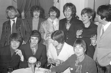 Guitarist Brian Jones (back, left), of The Rolling Stones, pictured with the Beatles and 'Grapefruit' group, which is celebrating the release of their first RCA single 'Dear Delilah'. at at the 'Grapefruit' party in the Mayfair Suit of the Hanover Grand H